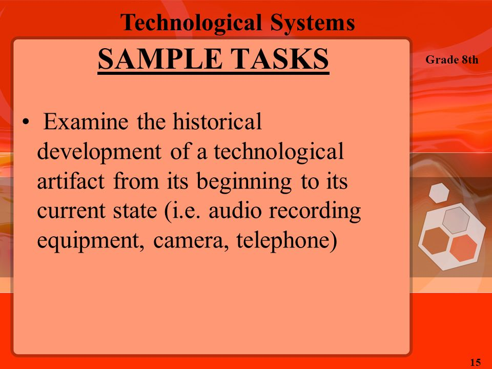 Technological Systems Grade 8th 15 SAMPLE TASKS Examine the historical development of a technological artifact from its beginning to its current state