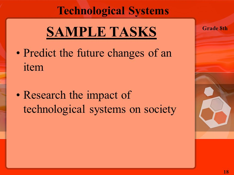 Technological Systems Grade 8th 18 SAMPLE TASKS Predict the future changes of an item Research the impact of technological systems on society