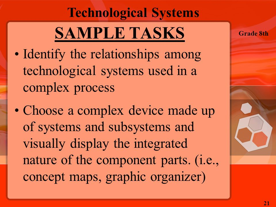 Technological Systems Grade 8th 21 SAMPLE TASKS Identify the relationships among technological systems used in a complex process Choose a complex devi