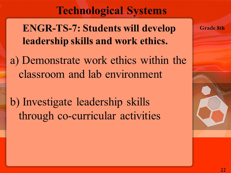 Technological Systems Grade 8th 22 ENGR-TS-7: Students will develop leadership skills and work ethics. a) Demonstrate work ethics within the classroom