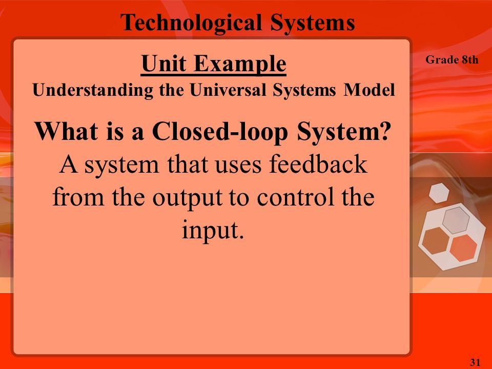 Technological Systems Grade 8th 31 Unit Example Understanding the Universal Systems Model What is a Closed-loop System? A system that uses feedback fr