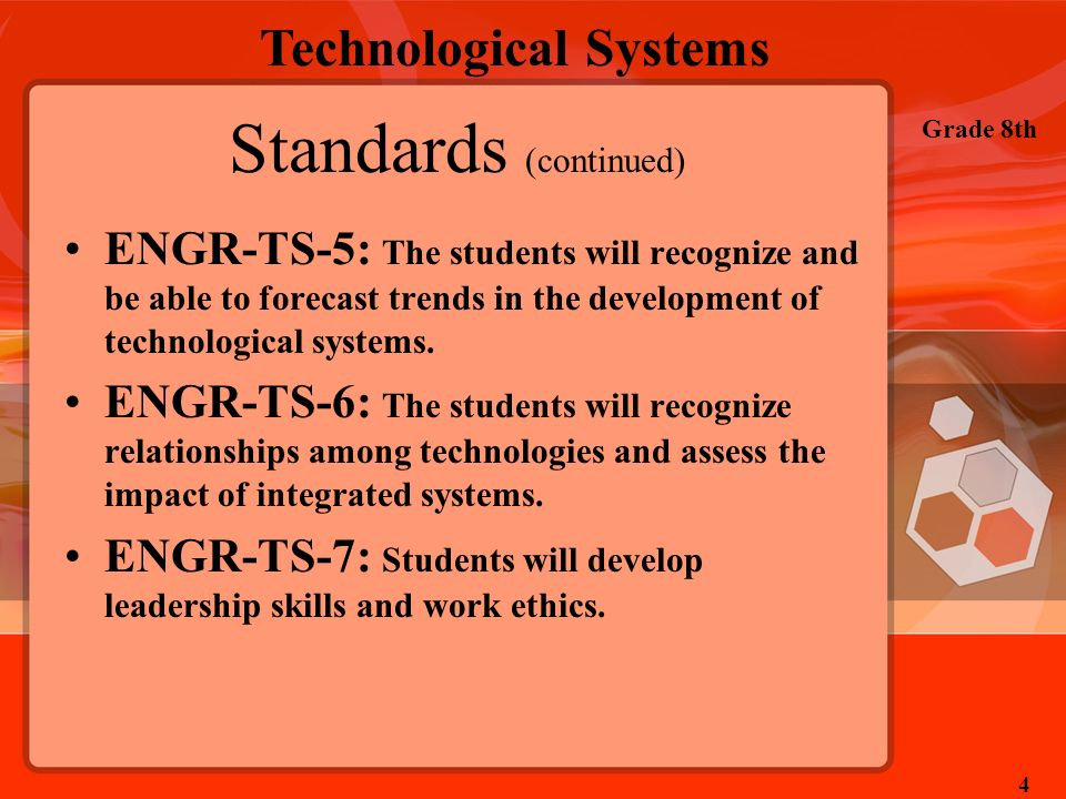 Technological Systems Grade 8th 4 Standards (continued) ENGR-TS-5: The students will recognize and be able to forecast trends in the development of te
