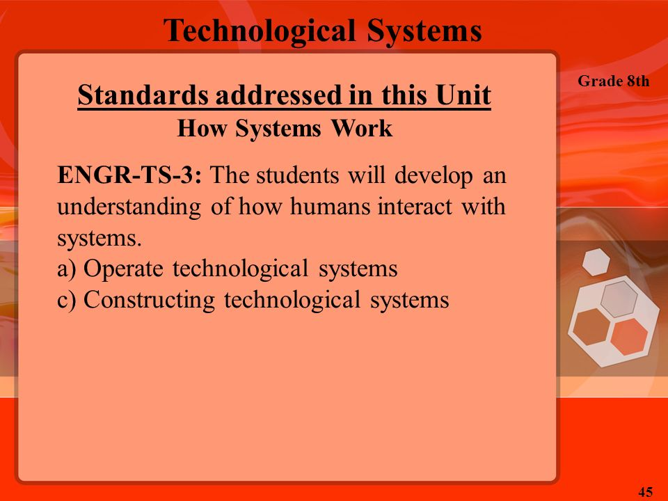 Technological Systems Grade 8th 45 Standards addressed in this Unit How Systems Work ENGR-TS-3: The students will develop an understanding of how huma