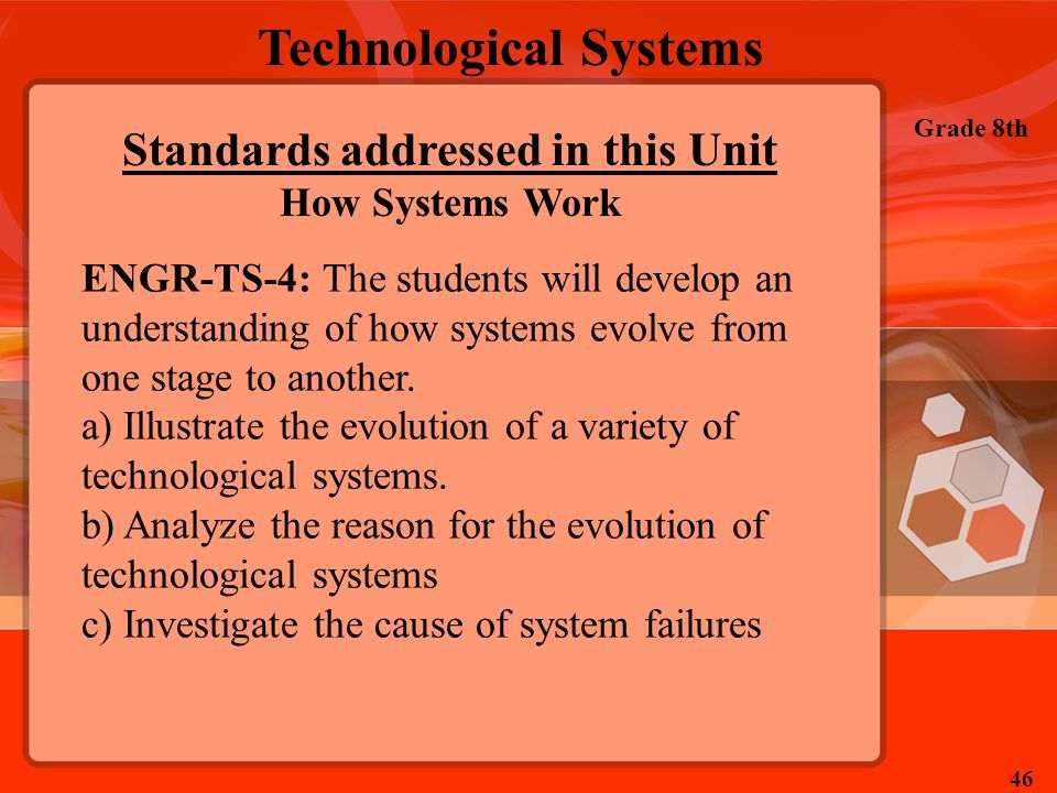 Technological Systems Grade 8th 46 Standards addressed in this Unit How Systems Work ENGR-TS-4: The students will develop an understanding of how syst