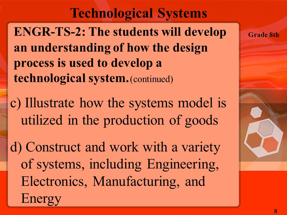 Technological Systems Grade 8th 8 ENGR-TS-2: The students will develop an understanding of how the design process is used to develop a technological s