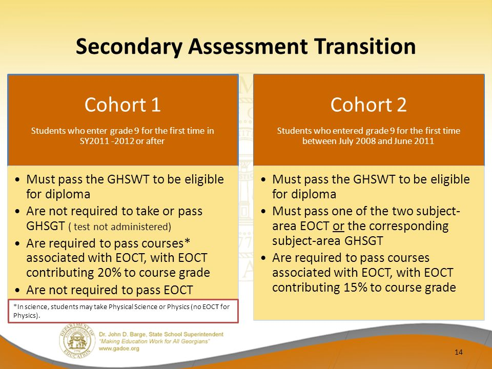 Secondary Assessment Transition Cohort 1 Students who enter grade 9 for the first time in SY2011 -2012 or after Must pass the GHSWT to be eligible for