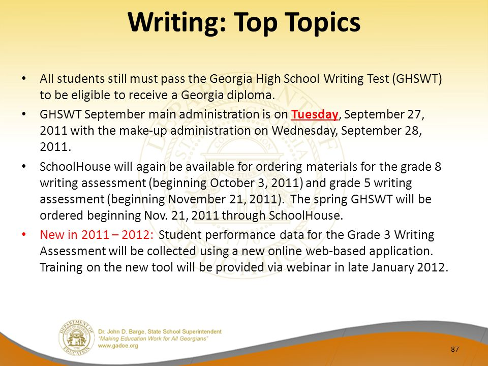 Writing: Top Topics All students still must pass the Georgia High School Writing Test (GHSWT) to be eligible to receive a Georgia diploma. GHSWT Septe