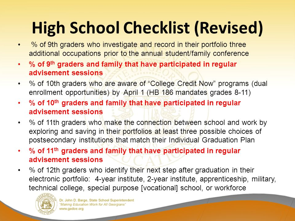 High School Checklist (Revised) % of 9th graders who investigate and record in their portfolio three additional occupations prior to the annual studen