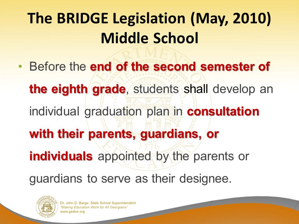 The BRIDGE Legislation (May, 2010) Middle School end of the second semester of the eighth grade consultation with their parents, guardians, or individ
