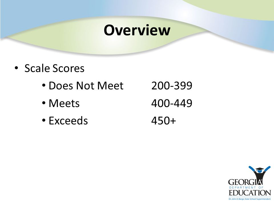 Overview Scale Scores Does Not Meet200-399 Meets400-449 Exceeds450+