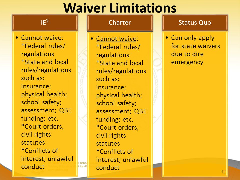 Waiver Limitations IE 2 Cannot waive: *Federal rules/ regulations *State and local rules/regulations such as: insurance; physical health; school safet