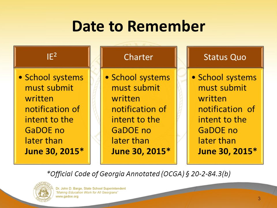 Date to Remember IE 2 School systems must submit written notification of intent to the GaDOE no later than June 30, 2015* Charter School systems must