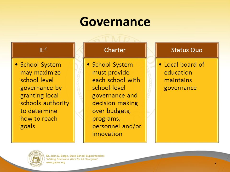 Governance IE 2 School System may maximize school level governance by granting local schools authority to determine how to reach goals Charter School
