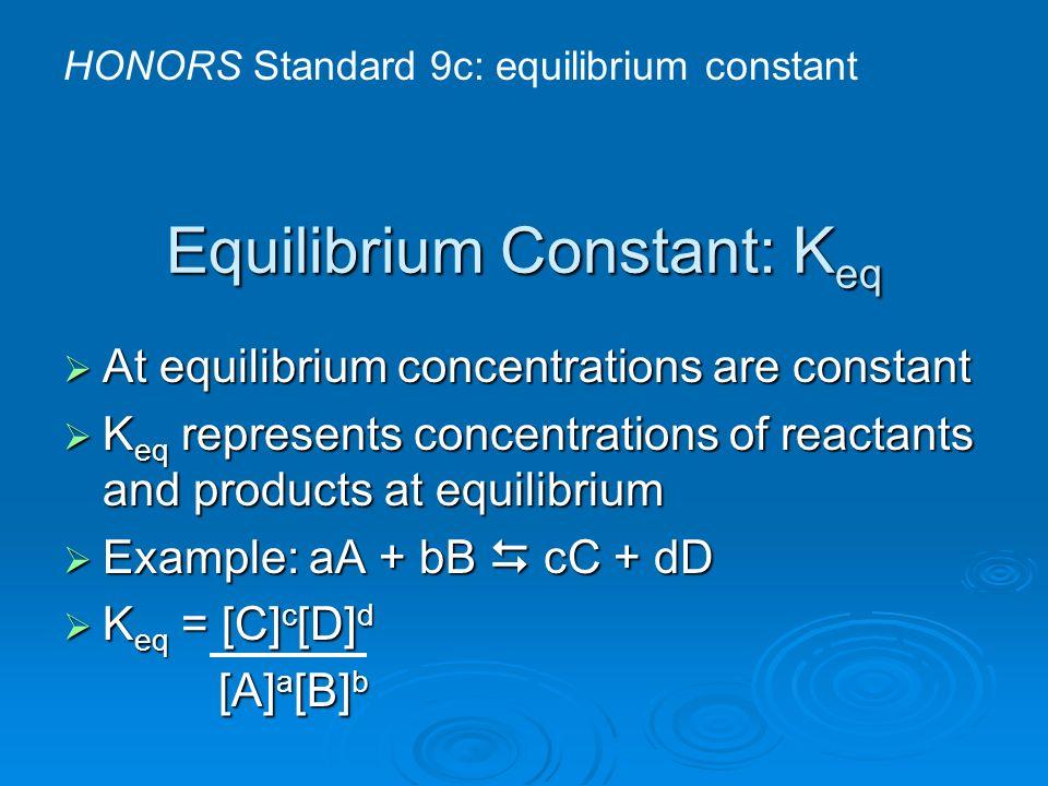 Equilibrium Constant: K eq At equilibrium concentrations are constant At equilibrium concentrations are constant K eq represents concentrations of rea