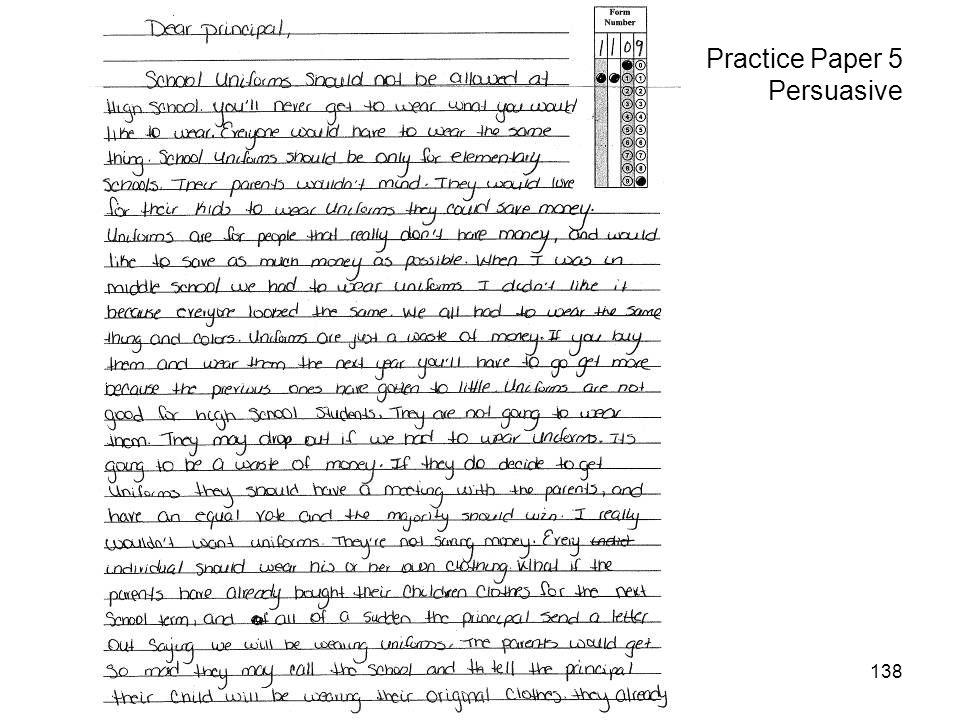 138 Practice Paper 5 Persuasive