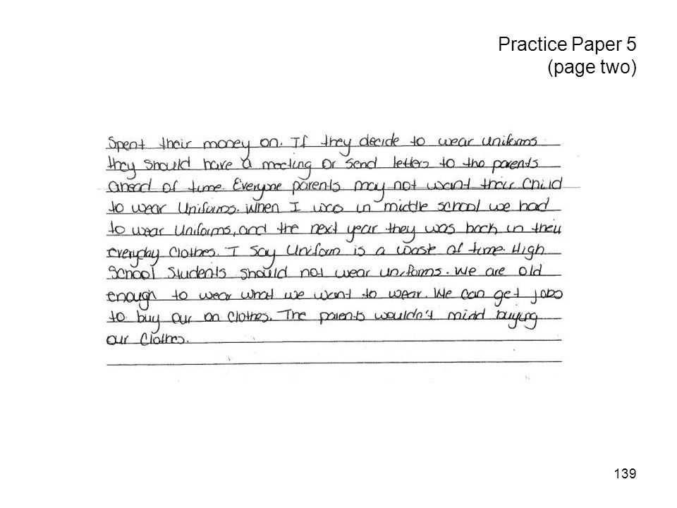 139 Practice Paper 5 (page two)