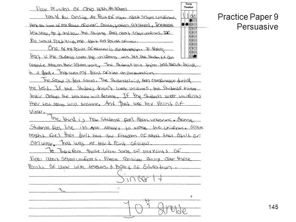 145 Practice Paper 9 Persuasive