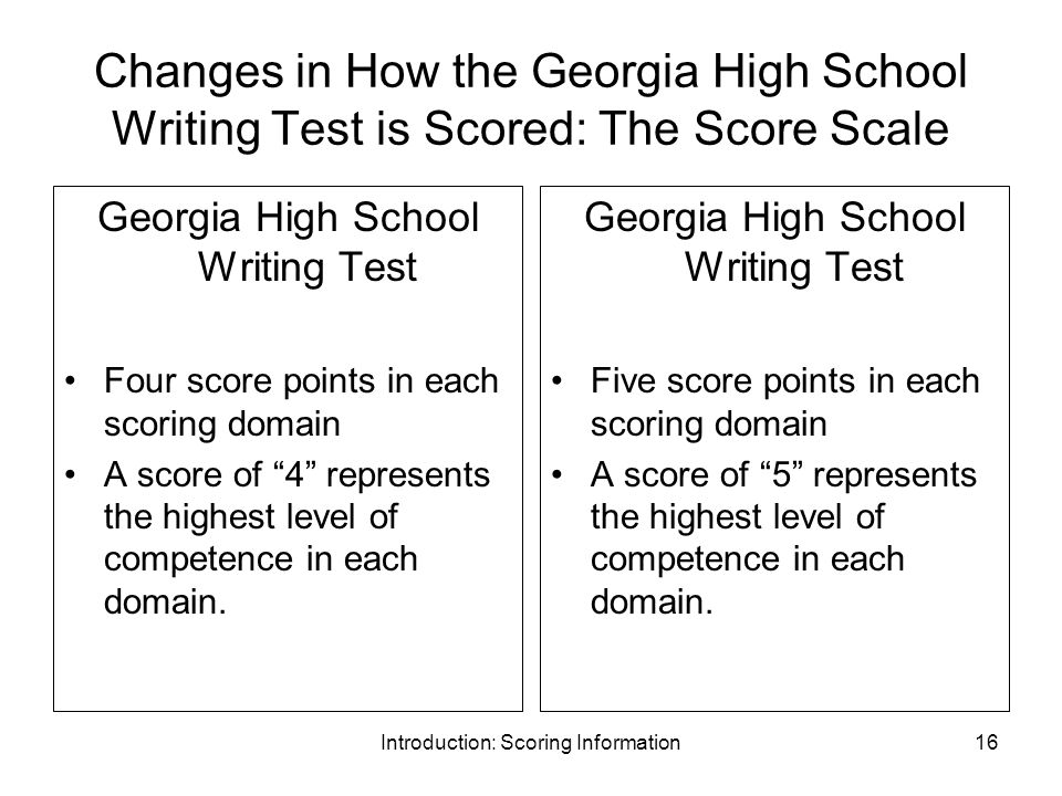 Introduction: Scoring Information16 Changes in How the Georgia High School Writing Test is Scored: The Score Scale Georgia High School Writing Test Four score points in each scoring domain A score of 4 represents the highest level of competence in each domain.