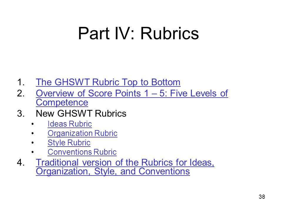 38 Part IV: Rubrics 1.The GHSWT Rubric Top to BottomThe GHSWT Rubric Top to Bottom 2.Overview of Score Points 1 – 5: Five Levels of CompetenceOverview of Score Points 1 – 5: Five Levels of Competence 3.New GHSWT Rubrics Ideas Rubric Organization Rubric Style Rubric Conventions Rubric 4.Traditional version of the Rubrics for Ideas, Organization, Style, and ConventionsTraditional version of the Rubrics for Ideas, Organization, Style, and Conventions