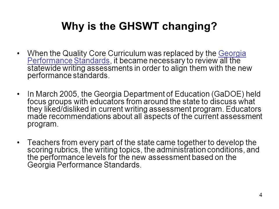 Introduction: Scoring Information15 Changes in How the Georgia High School Writing Test is Scored: Domains Georgia High School Writing Test Content/Organization Style Conventions Sentence Formation New Georgia High School Writing Test Ideas Organization Style Conventions