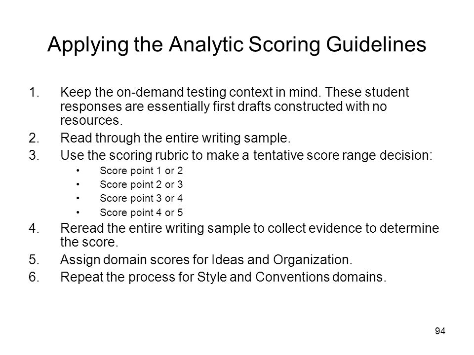 94 Applying the Analytic Scoring Guidelines 1.Keep the on-demand testing context in mind.