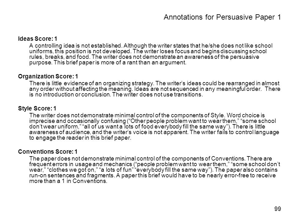 99 Annotations for Persuasive Paper 1 Ideas Score: 1 A controlling idea is not established.
