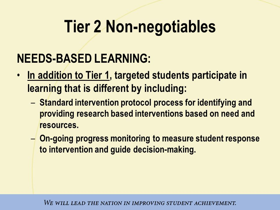 Tier 2 Non-negotiables NEEDS-BASED LEARNING: In addition to Tier 1, targeted students participate in learning that is different by including: – Standa