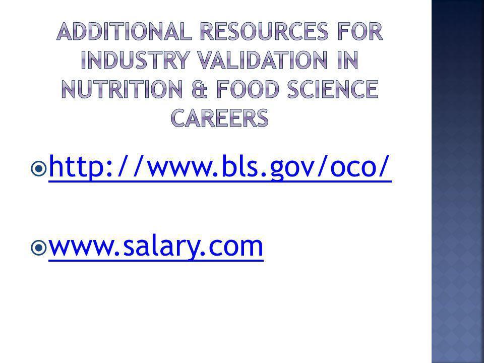 http://www.bls.gov/oco/ www.salary.com