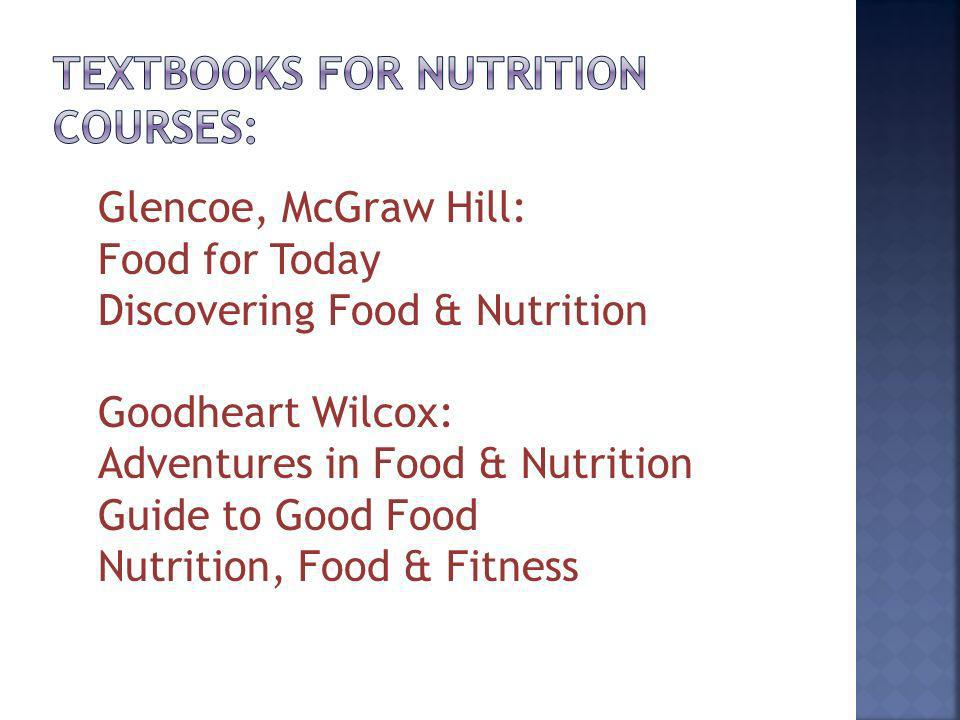 Glencoe, McGraw Hill: Food for Today Discovering Food & Nutrition Goodheart Wilcox: Adventures in Food & Nutrition Guide to Good Food Nutrition, Food & Fitness