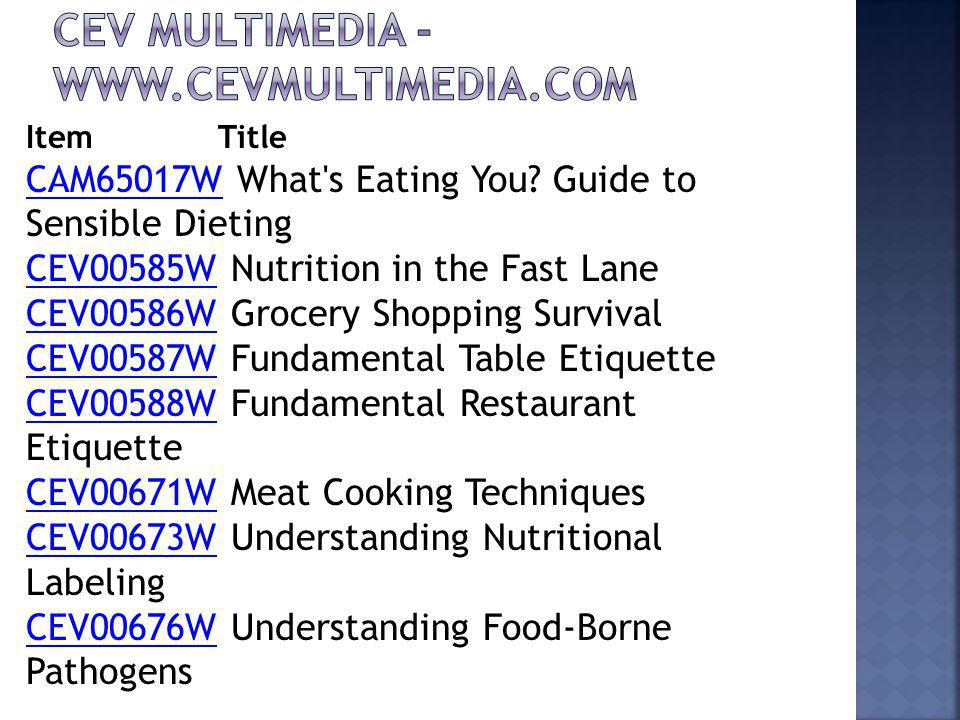 Item Title CAM65017WCAM65017W What's Eating You? Guide to Sensible Dieting CEV00585WCEV00585W Nutrition in the Fast Lane CEV00586WCEV00586W Grocery Sh