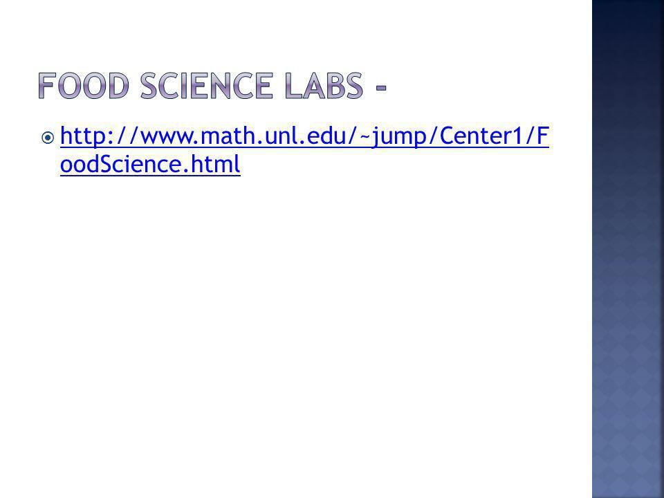 http://www.math.unl.edu/~jump/Center1/F oodScience.html http://www.math.unl.edu/~jump/Center1/F oodScience.html
