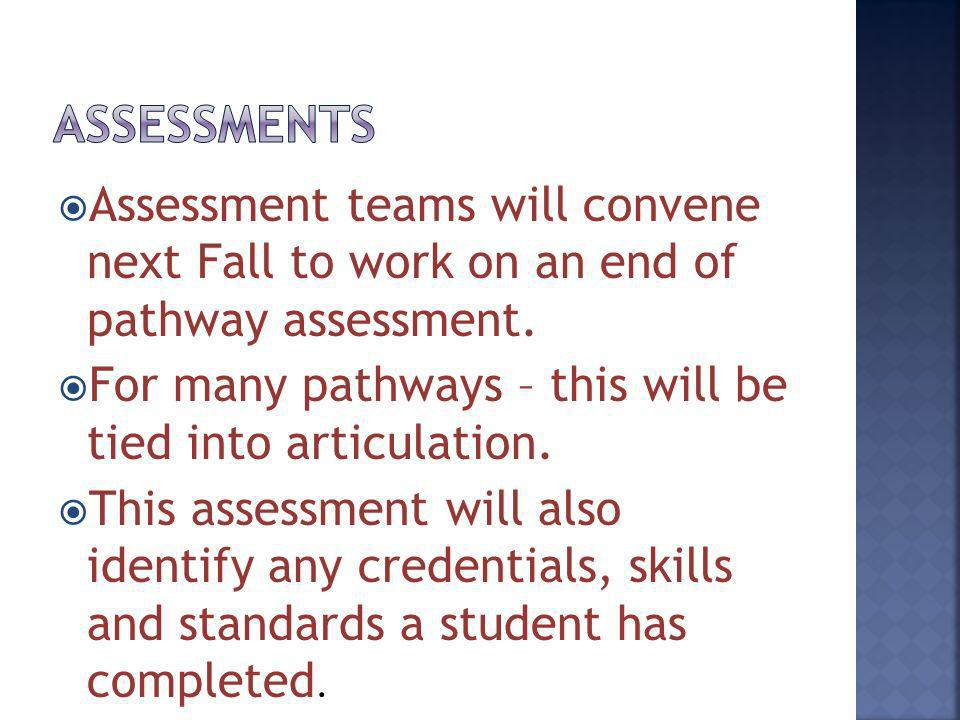 Assessment teams will convene next Fall to work on an end of pathway assessment. For many pathways – this will be tied into articulation. This assessm