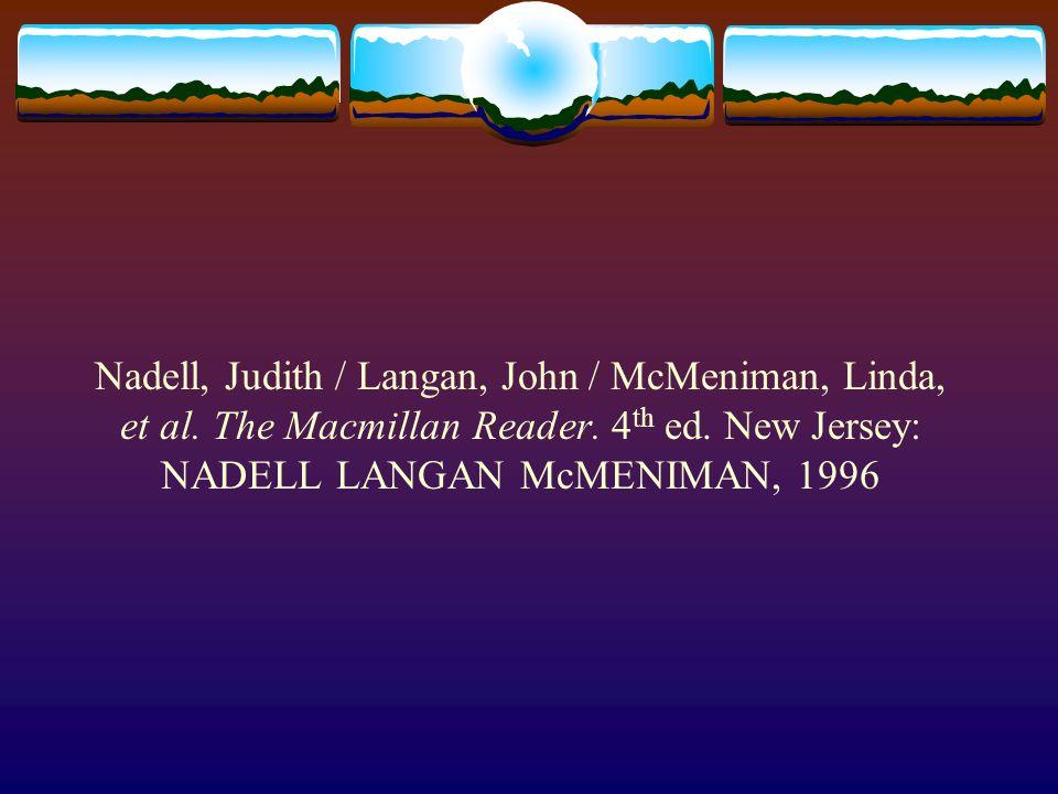 Nadell, Judith / Langan, John / McMeniman, Linda, et al.