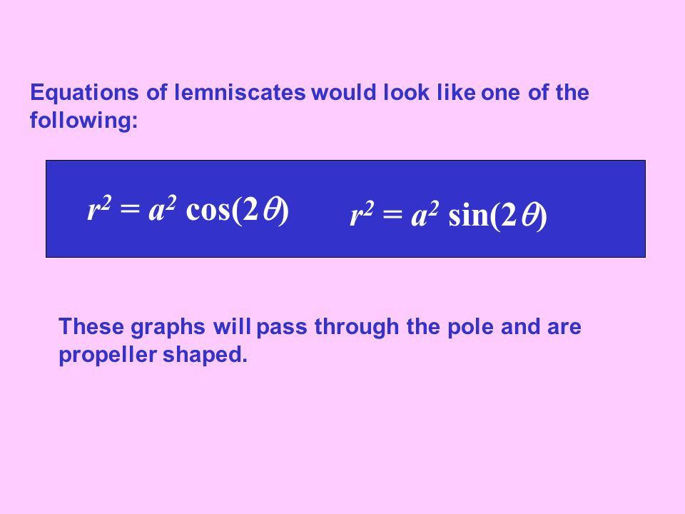 Equations of lemniscates would look like one of the following: r 2 = a 2 cos(2 ) r 2 = a 2 sin(2 ) These graphs will pass through the pole and are pro
