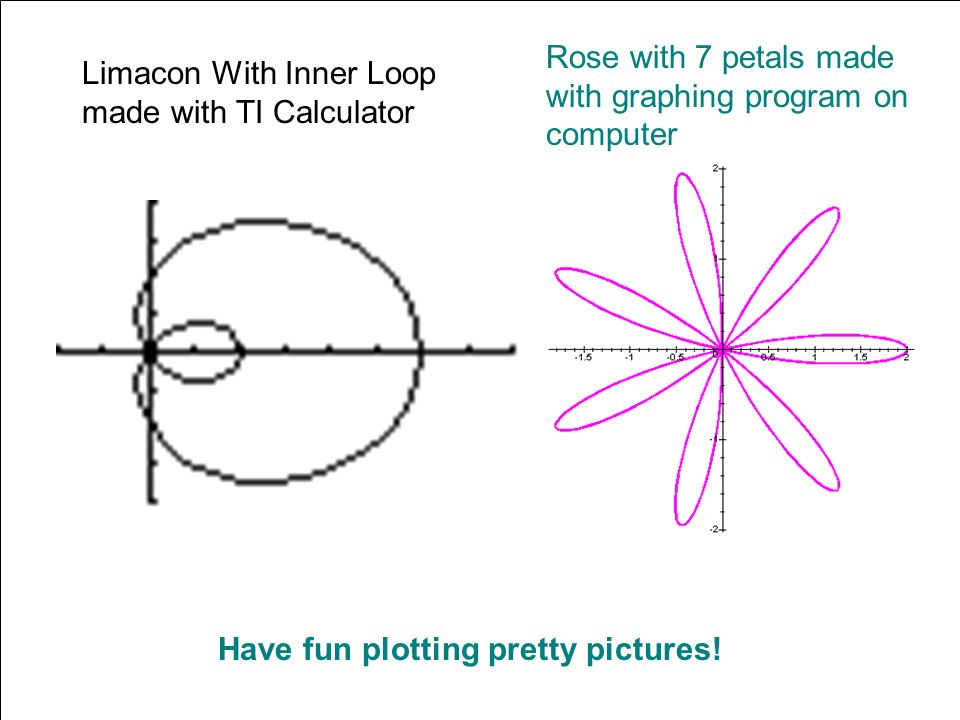 Have fun plotting pretty pictures! Limacon With Inner Loop made with TI Calculator Rose with 7 petals made with graphing program on computer