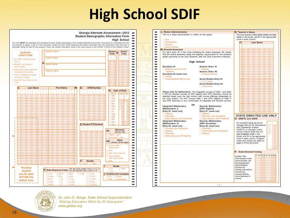 High School SDIF 18