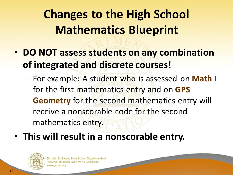 Changes to the High School Mathematics Blueprint DO NOT assess students on any combination of integrated and discrete courses.