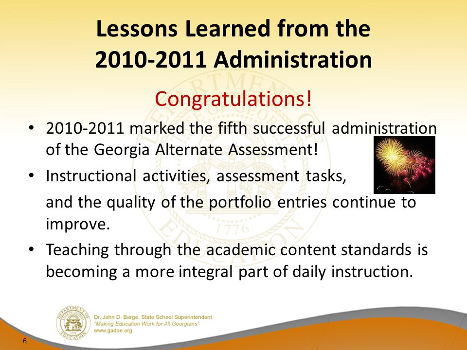 Lessons Learned from the Administration Congratulations.