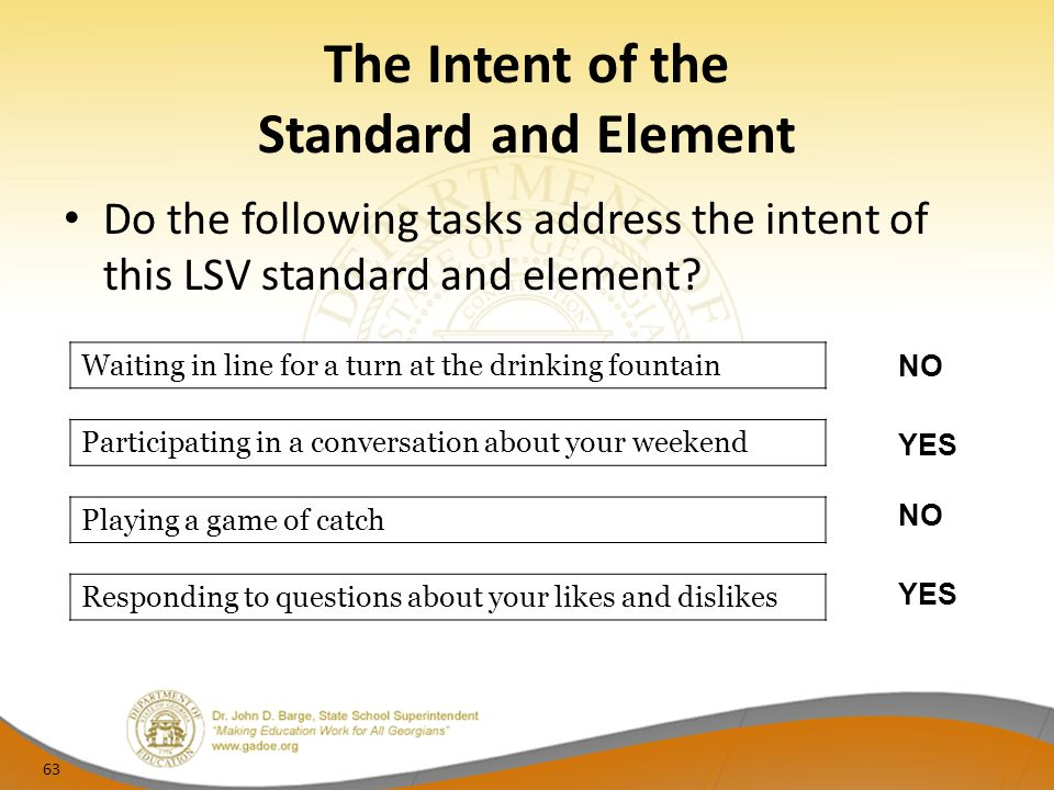 The Intent of the Standard and Element Do the following tasks address the intent of this LSV standard and element.