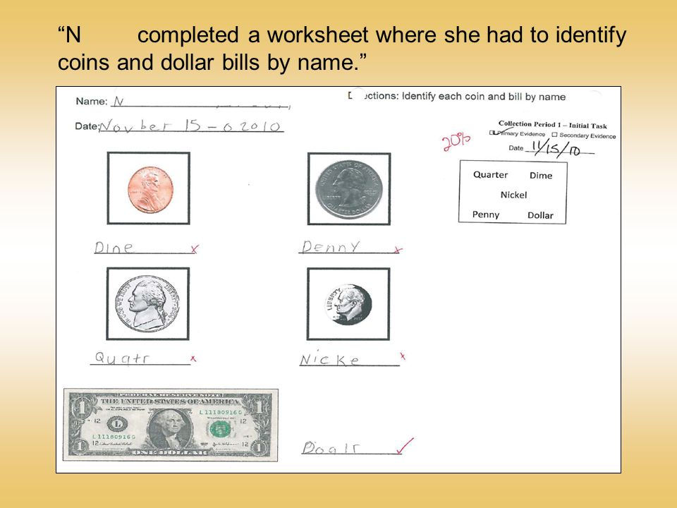 N completed a worksheet where she had to identify coins and dollar bills by name.