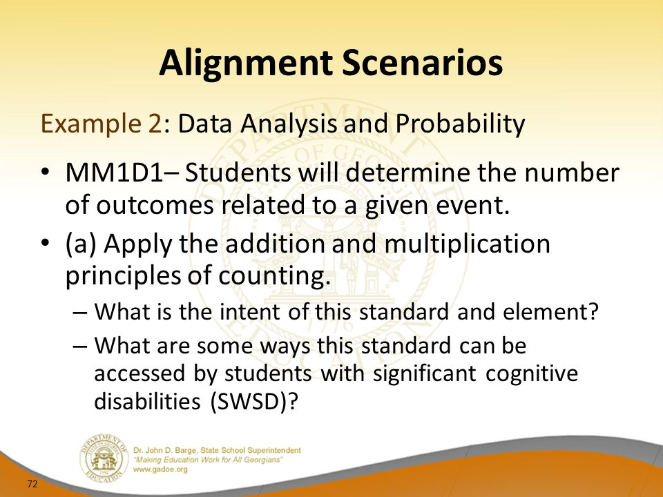Alignment Scenarios Example 2: Data Analysis and Probability MM1D1– Students will determine the number of outcomes related to a given event.