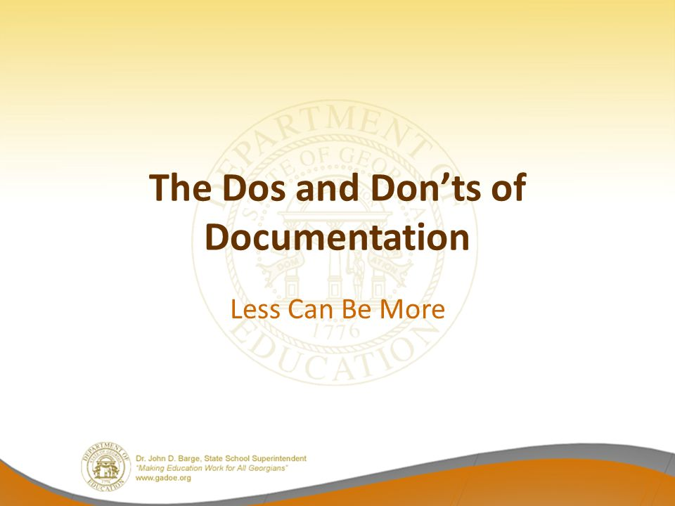 The Dos and Donts of Documentation Less Can Be More