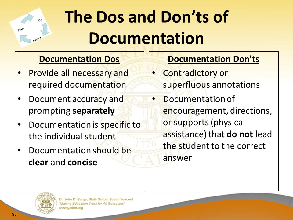The Dos and Donts of Documentation Documentation Dos Provide all necessary and required documentation Document accuracy and prompting separately Documentation is specific to the individual student Documentation should be clear and concise Documentation Donts Contradictory or superfluous annotations Documentation of encouragement, directions, or supports (physical assistance) that do not lead the student to the correct answer 83