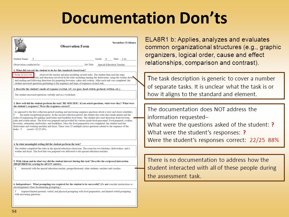 Documentation Donts 94 ELA8R1 b: Applies, analyzes and evaluates common organizational structures (e.g., graphic organizers, logical order, cause and effect relationships, comparison and contrast).