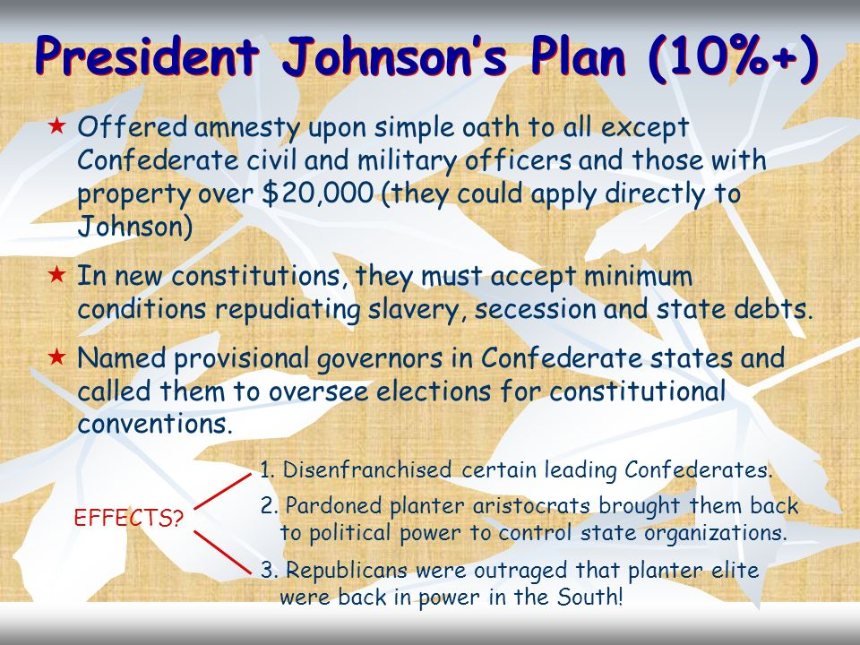 President Johnsons Plan (10%+) Offered amnesty upon simple oath to all except Confederate civil and military officers and those with property over $20