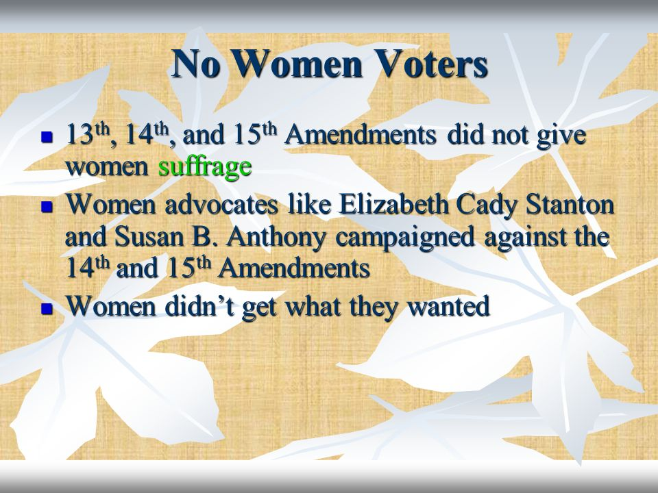 No Women Voters 13 th, 14 th, and 15 th Amendments did not give women suffrage 13 th, 14 th, and 15 th Amendments did not give women suffrage Women ad