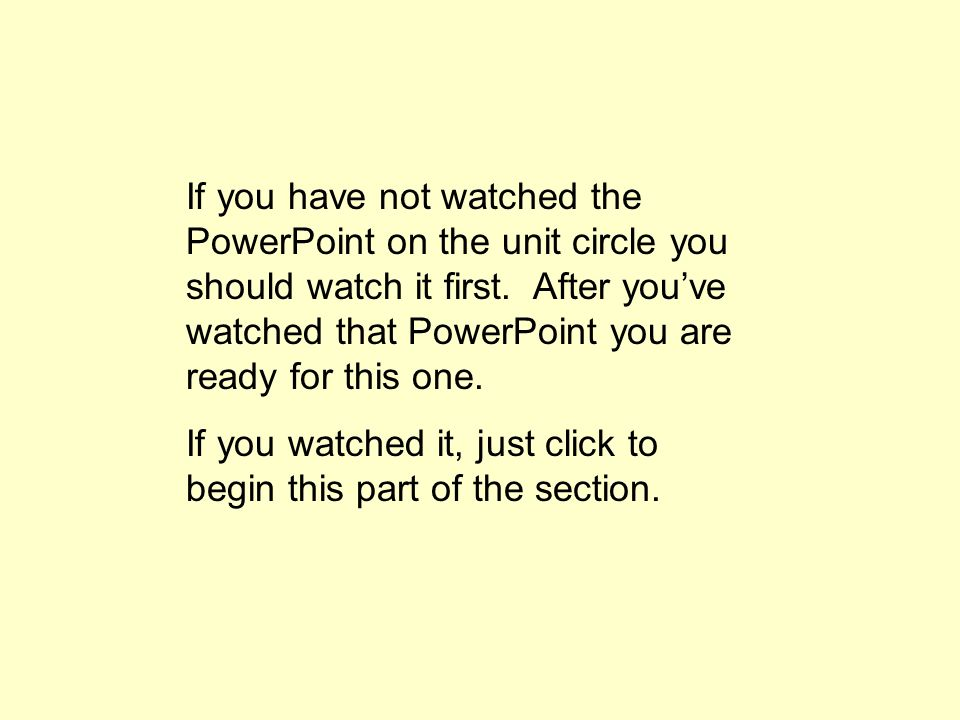 If you have not watched the PowerPoint on the unit circle you should watch it first.