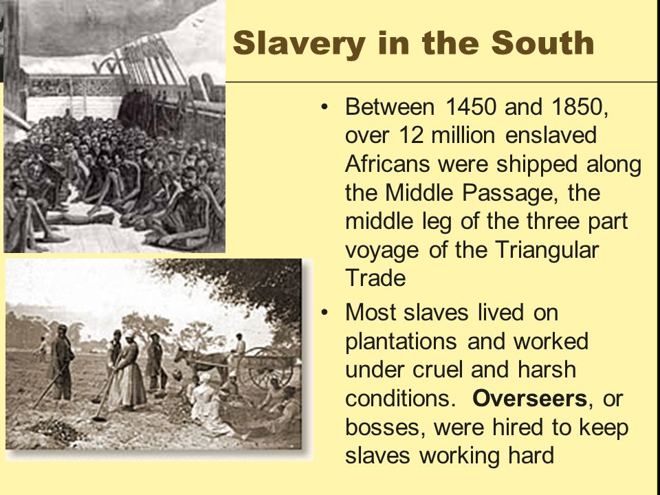 Slavery in the South Between 1450 and 1850, over 12 million enslaved Africans were shipped along the Middle Passage, the middle leg of the three part