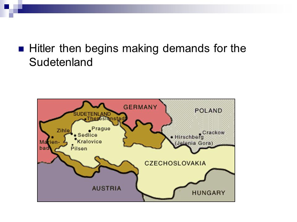 Hitler then begins making demands for the Sudetenland