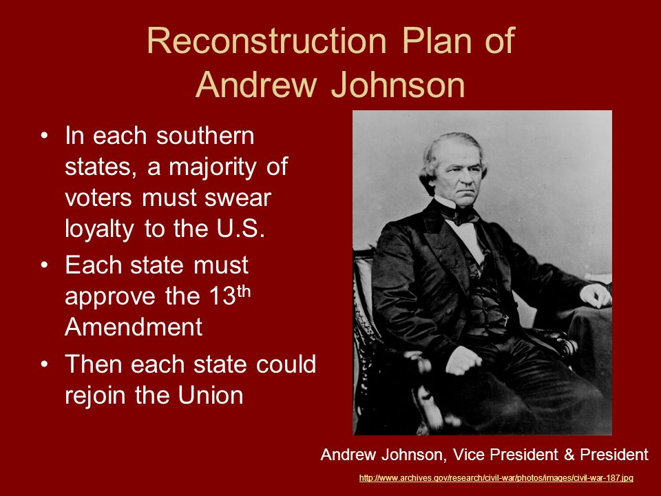 Response to Johnsons Plan Southern States met Johnsons demands Republicans in Congress outraged because African Americans were not allowed to vote & former Confederate Leaders were elected to Congress